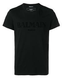 Camiseta con cuello circular negra de Balmain