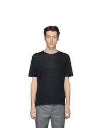 Camiseta con cuello circular negra de Etro