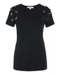 Camiseta con cuello circular negra de Michael Kors