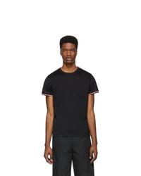 Camiseta con cuello circular negra de Moncler