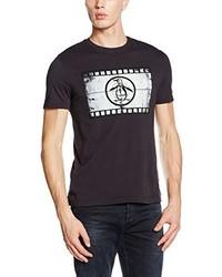 Camiseta con cuello circular negra de Original Penguin