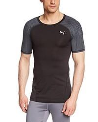 Camiseta con cuello circular negra de Puma