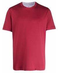 Camiseta con cuello circular roja de Brunello Cucinelli