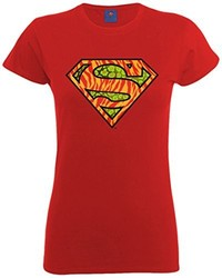 Camiseta con Cuello Circular Roja de DC Comics