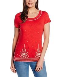 Camiseta con Cuello Circular Roja de Esprit