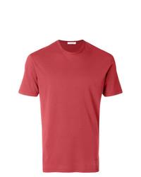 Camiseta con cuello circular roja de Paolo Pecora