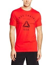 Camiseta con cuello circular roja de Reebok