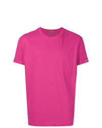Camiseta con cuello circular rosa