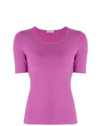 Camiseta con cuello circular rosa de Le Tricot Perugia