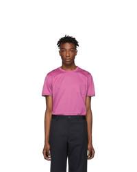 Camiseta con cuello circular rosa de Moncler