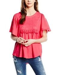 Camiseta con cuello circular rosa de Vero Moda