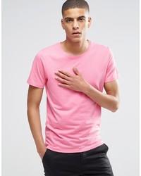 Camiseta con cuello circular rosada de Selected