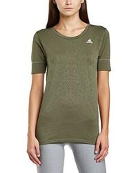 Camiseta con cuello circular verde oliva de adidas