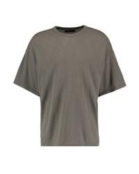 Camiseta con cuello circular verde oliva de AllSaints