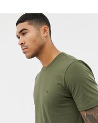 Camiseta con cuello circular verde oliva de Calvin Klein