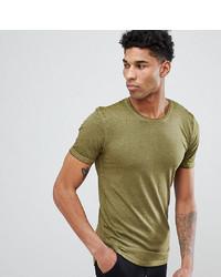 Camiseta con cuello circular verde oliva de D-struct