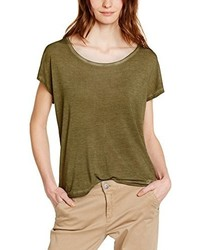 Camiseta con cuello circular verde oliva de DDP