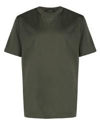 Camiseta con cuello circular verde oliva de Ermenegildo Zegna