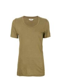 Camiseta con cuello circular verde oliva de Isabel Marant Etoile