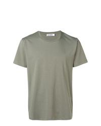 Camiseta con cuello circular verde oliva de Jil Sander