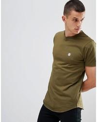 Camiseta con cuello circular verde oliva de Le Breve