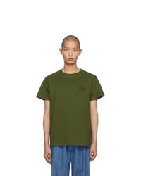 Camiseta con cuello circular verde oliva de Loewe