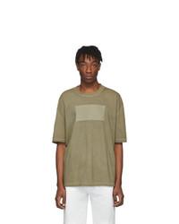 Camiseta con cuello circular verde oliva de Maison Margiela