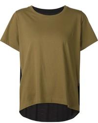 Camiseta con cuello circular verde oliva de MM6 MAISON MARGIELA
