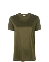 Camiseta con cuello circular verde oliva de Moncler