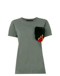 Camiseta con cuello circular verde oliva de Mr & Mrs Italy