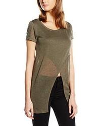 Camiseta con cuello circular verde oliva de Only