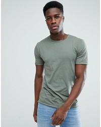 Camiseta con cuello circular verde oliva de ONLY & SONS