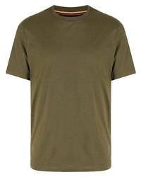 Camiseta con cuello circular verde oliva de Paul Smith