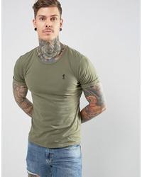 Camiseta con cuello circular verde oliva de Religion