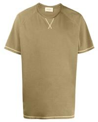 Camiseta con cuello circular verde oliva de Salvatore Ferragamo
