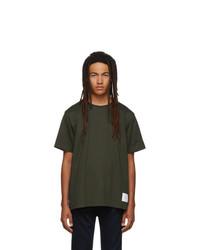 Camiseta con cuello circular verde oliva de Thom Browne
