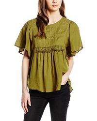 Camiseta con cuello circular verde oliva de Vero Moda