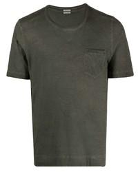 Camiseta con cuello circular verde oscuro de Massimo Alba