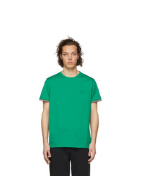Camiseta con cuello circular verde de Moncler