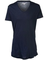 Camiseta con cuello en v azul marino original 380052
