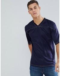Camiseta con cuello en v azul marino de Bellfield