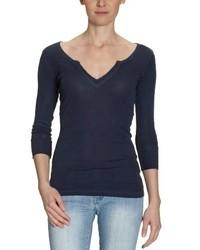 Camiseta con Cuello en V Azul Marino de Blaumax