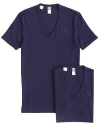 Camiseta con cuello en v azul marino de G Star