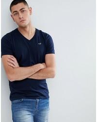 Camiseta con cuello en v azul marino de Hollister