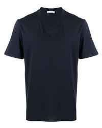 Camiseta con cuello en v azul marino de Jil Sander