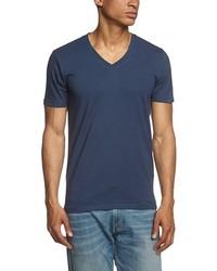 Camiseta con cuello en v azul marino de Selected