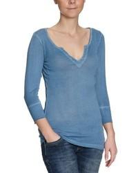 Camiseta con Cuello en V Azul de Blaumax