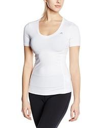 Camiseta con cuello en v blanca de adidas
