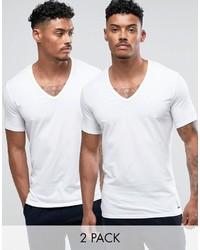 Camiseta con cuello en v blanca de Calvin Klein