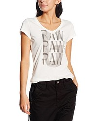 Camiseta con cuello en v blanca de G-Star Raw